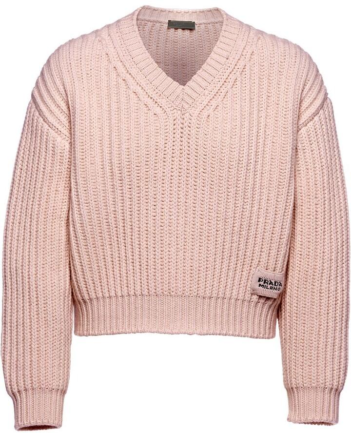 Prada chunky-knit V-neck jumper