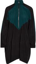 Marni Oversized Color-block Crinkled-shell Mini Dress - Emerald