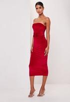 Missguided Red Velvet Bandeau Belted Midi Dress