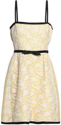 Valentino Bow-embellished Chantilly Lace Mini Dress