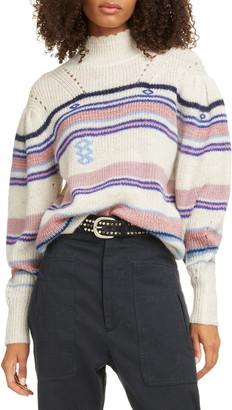 Etoile Isabel Marant Georgie Stripe Balloon Sleeve Sweater