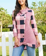 Buffalo David Bitton Reborn Collection Women's Tunics navy - Navy & Pink Plaid Cowl Neck Asymmetrical Button Tunic - Women & Plus