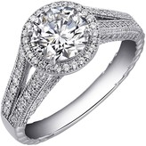 Lafonn Micro Pave Simulated Diamond Sterling Silver Round Halo Ring - 2.42 ctw