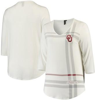 Women's White Oklahoma Sooners Plus Size Missy Plaid 3/4-Sleeve V-Neck T-Shirt