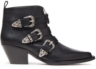 R 13 Buckled Leather Ankle Boots