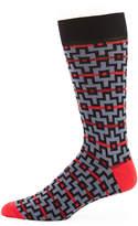 Jared Lang Graphic-Print Cotton-Blend Socks
