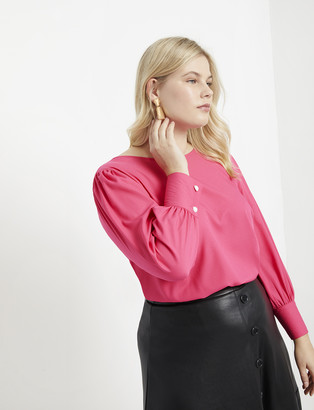 ELOQUII Puff Sleeve Top with Pearl Details