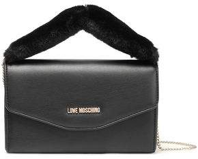 55aec2584d Love Moschino Faux Fur-trimmed Embellished Faux Leather Clutch