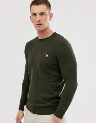 Lyle & Scott crew neck cotton merino jumper-Green