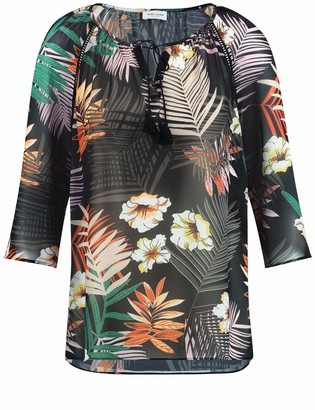 Gerry Weber Bluse 3/4 Arm womens Regular Fit Blouse Mehrfarbig (Schwarz/ Papaya/ Grun Dru 1133) 22 UK (48 EU)