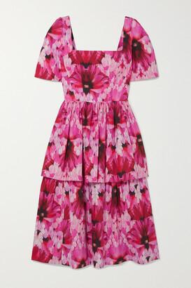 Alexander McQueen Tiered Printed Cotton-poplin Midi Dress - Pink