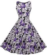 Lecimo Vintage 1950's Floral Summer Spring Garden Party Picnic Cocktail Dress ( ,Size S)