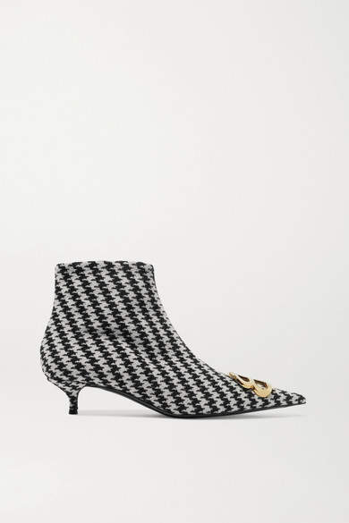 Logo-embellished Houndstooth Tweed Ankle Boots - Black Balenciaga Newest Cheap Online JKOtQZZo