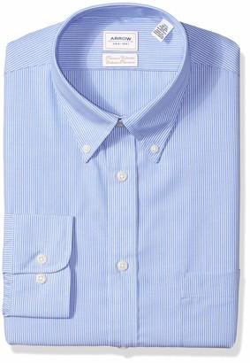 """Arrow Premium Men's Long Sleeve Regular Fit Non Iron Dress Shirt -Blue 17.5"""" Neck 36""""-37"""" Sleeve"""