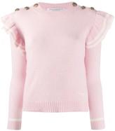 Philosophy di Lorenzo Serafini striped ruffle sleeve cashmere jumper
