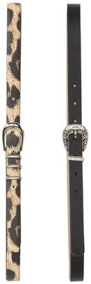 Steve Madden Black Western Belt & Leopard Belt Set