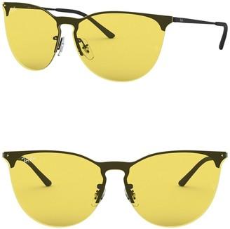 Ray-Ban 41mm Phantos Rubber Aviator Sunglasses