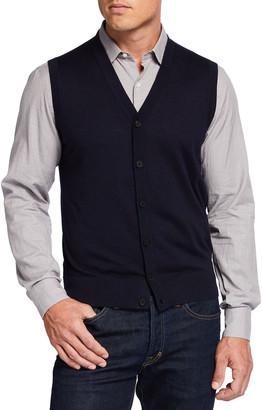 Neiman Marcus Men's Fine Gauge Cardigan Vest