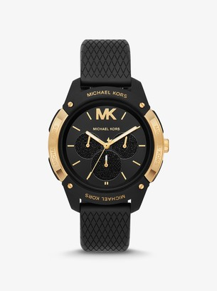 Michael Kors Ryder Embossed Silicone and Gold-Tone Watch