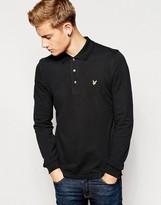Lyle & Scott Polo Shirt With Eagle Logo Long Sleeves - Black