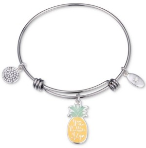"""Unwritten You Are the Pineapple of my Eye"""" Enamel Bangle Bracelet in Stainless Steel"""