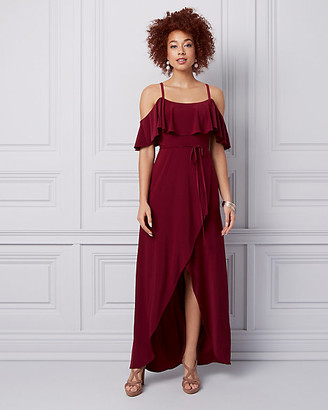 Le Château Knit Cold Shoulder Wrap-like Gown
