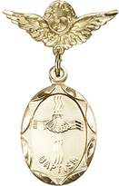 Bonyak Jewelry Saint Medal Collection Gold Filled Baby Badge with Baptism Charm and Angel w/Wings Badge Pin 1 1/8 X 3/4 inches
