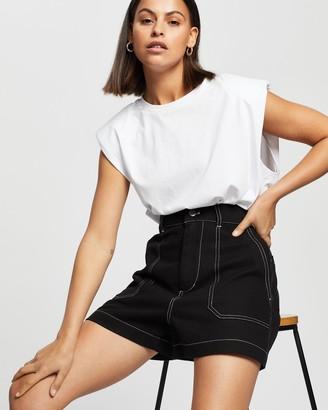 AERE - Women's Black Denim - Organic Cotton Overstitch Shorts - Size 6 at The Iconic