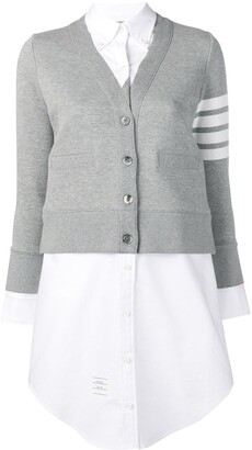 Thom Browne 4-Bar stripe cardigan-detail shirtdress