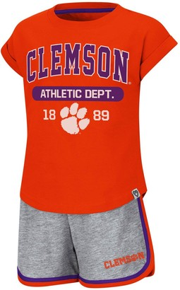 Colosseum Girls Toddler Orange Clemson Tigers Charge It T-Shirt & Shorts Set