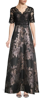 Adrianna Papell Jacquard V-Neck Gown