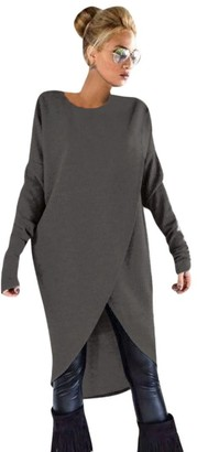 HARRYSTORE Fashion Womens Irregular Knitting Loose Sweatshirt Pullover Long Tops Blouse One Piece Jackets Coat (XXL