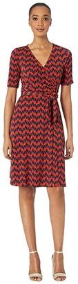 Donna Morgan Chevron Faux Wrap A-Line Matte Jersey Dress (Navy/Sepia) Women's Dress