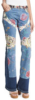 Roberto Cavalli Patchwork Floral Denim Jeans, Light Blue