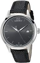 88 Rue du Rhone Men's 'Rive' Swiss Quartz Stainless Steel and Leather Dress Watch, Color:Black (Model: 87WA154111)