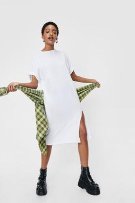 Nasty Gal Womens Tee Off Slit Midi Dress - Black - S, Black