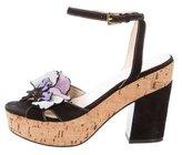 Prada Floral-Accented Platform Sandals