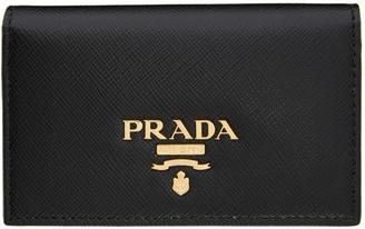 Prada Black Saffiano Foldover Card Holder