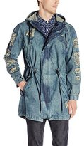 Southpole Men's Denim Fish Tail Jacket with Ripped and Repair Details