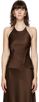 Rosetta Getty Brown Satin Camisole