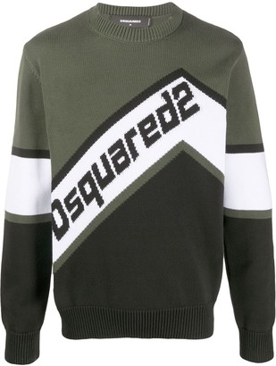 DSQUARED2 Colour-Block Intarsia Logo Jumper