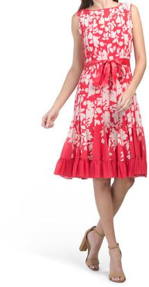 Printed Sleeveless Pintuck Pleat Dress