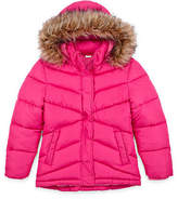 Arizona Jeans Girls Pink Coat Puffer Ski Jacket with Faux Fur Hood