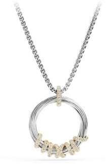 David Yurman Helena Medium Pendant Necklace with Diamonds and 18K Gold