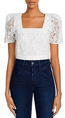 French Connection Baintana Lace Cropped Top