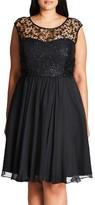 City Chic Plus Size Women's Sequin Lace Fit & Flare Dress