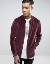 Asos Bomber Jacket In Burgundy Velour