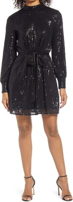 Chi Chi London Sequin High Neck Long Sleeve Skater Dress