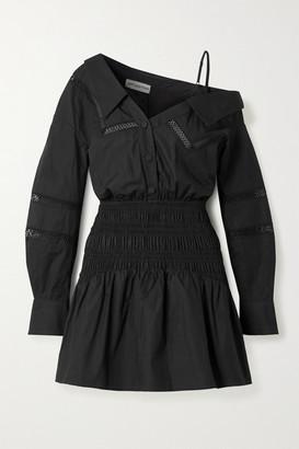 Self-Portrait One-shoulder Crochet-trimmed Shirred Cotton-poplin Mini Dress - Black