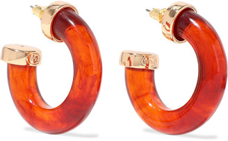 Kenneth Jay Lane Gold-tone Tortoiseshell Resin Hoop Earrings